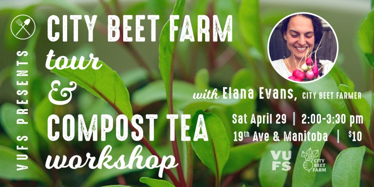 Picture of Elana Evans of City Beet Farm on a background of beet greens