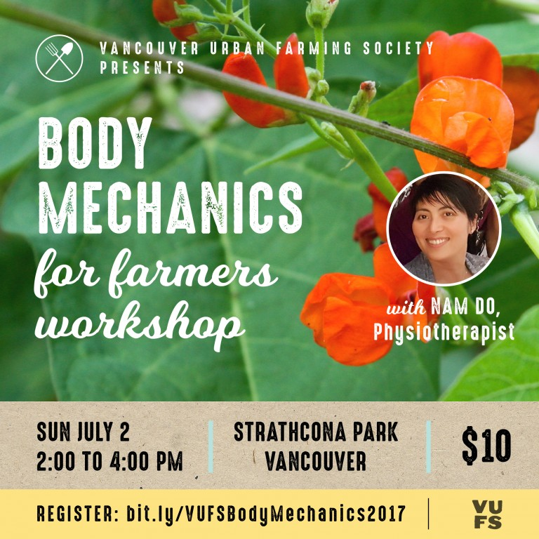 Body Mechanics Workshop for Farmers poster - picture of scarlet runner beans with red flowers and physiotherapist Nam Do