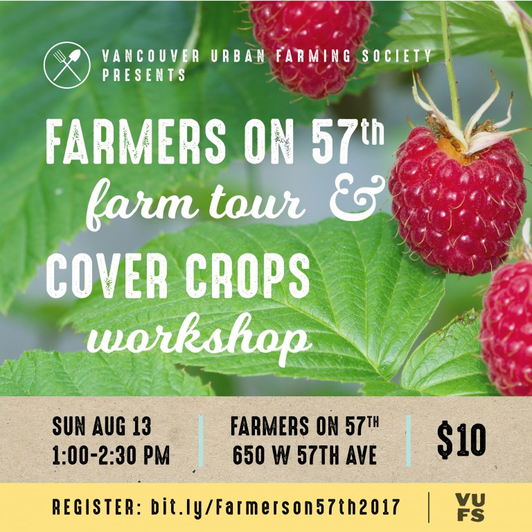 Farmers on 57th Farm Tour poster on a background of red raspberries and green leaves