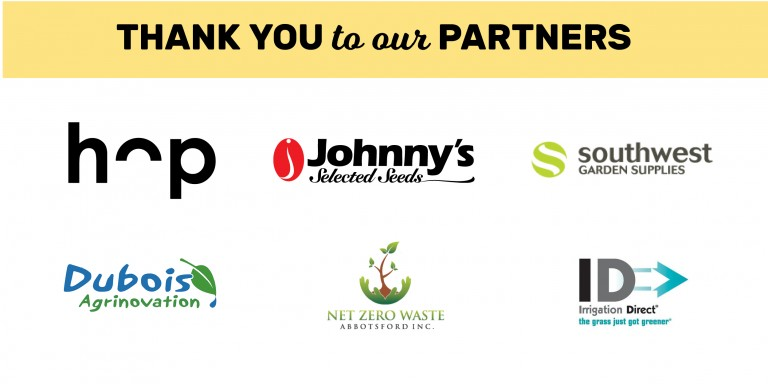 Thank you to our partners, with logos for Hop Compost, Johnny's Selected Seeds, Southwest Garden Supplies, Irrigation Direct, Net Zero Waste, and Dubois Agrinnovation